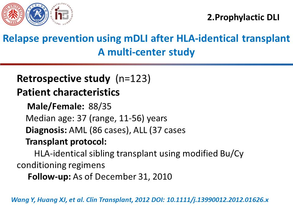 Conclusion of Part one 1.mDLI was a potentially effective therapeutic option for patients who relapsed after HSCT 2.Chemotherapy plus DLI is superior to chemotherapy alone for treatment of patients who relapsed after transplantation Huang XJ, et al, Leukemia, 2006,20:365-368 Huang XJ, et al.