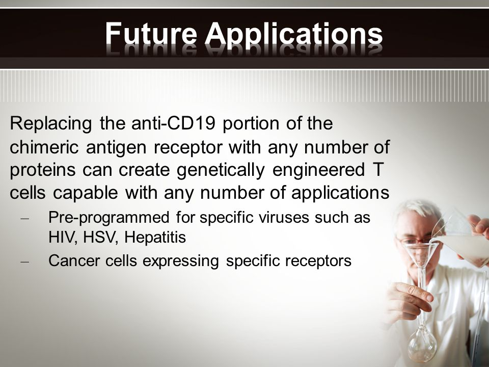 Replacing the anti-CD19 portion of the chimeric antigen receptor with any number of proteins can create genetically engineered T cells capable with any number of applications – Pre-programmed for specific viruses such as HIV, HSV, Hepatitis – Cancer cells expressing specific receptors