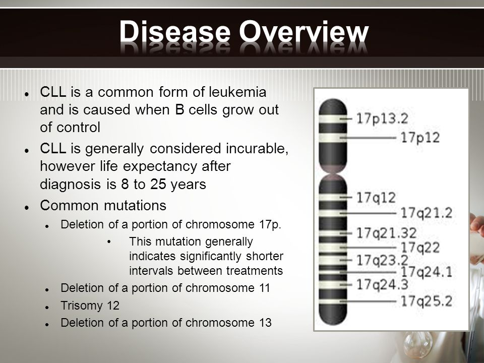 CLL is a common form of leukemia and is caused when B cells grow out of control CLL is generally considered incurable, however life expectancy after diagnosis is 8 to 25 years Common mutations Deletion of a portion of chromosome 17p.