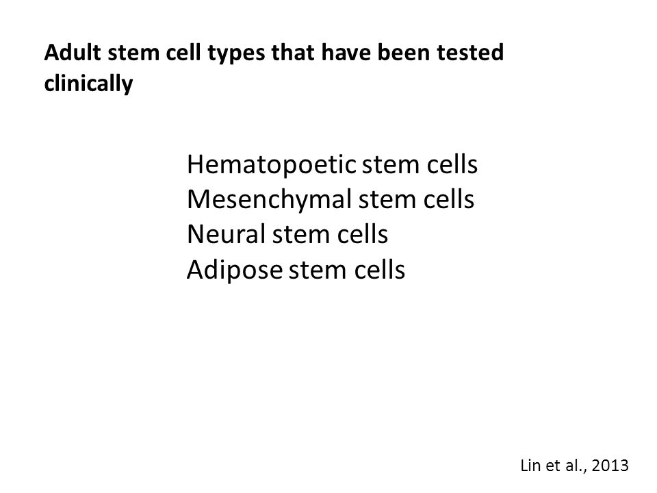 Adult stem cell types that have been tested clinically Hematopoetic stem cells Mesenchymal stem cells Neural stem cells Adipose stem cells Lin et al., 2013