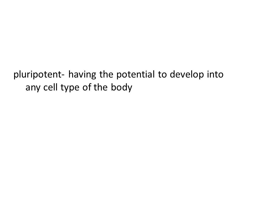 pluripotent- having the potential to develop into any cell type of the body