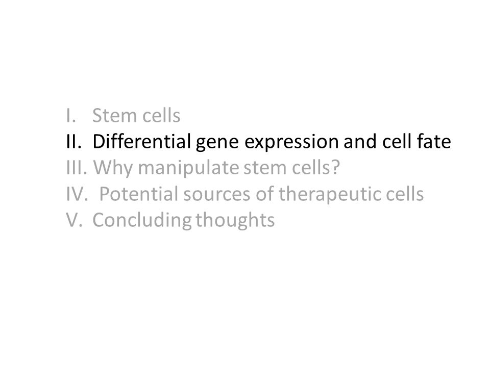 I.Stem cells II. Differential gene expression and cell fate III.