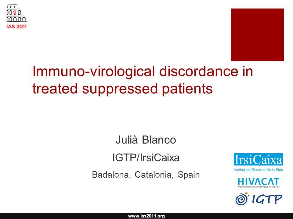 www.ias2011.org Immuno-virological discordance in treated suppressed patients Julià Blanco IGTP/IrsiCaixa Badalona, Catalonia, Spain
