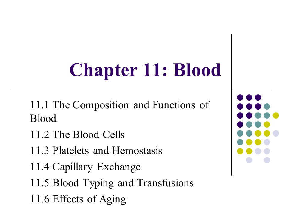 Chapter 11: Blood 11.1 The Composition and Functions of Blood 11.2 The Blood Cells 11.3 Platelets and Hemostasis 11.4 Capillary Exchange 11.5 Blood Ty