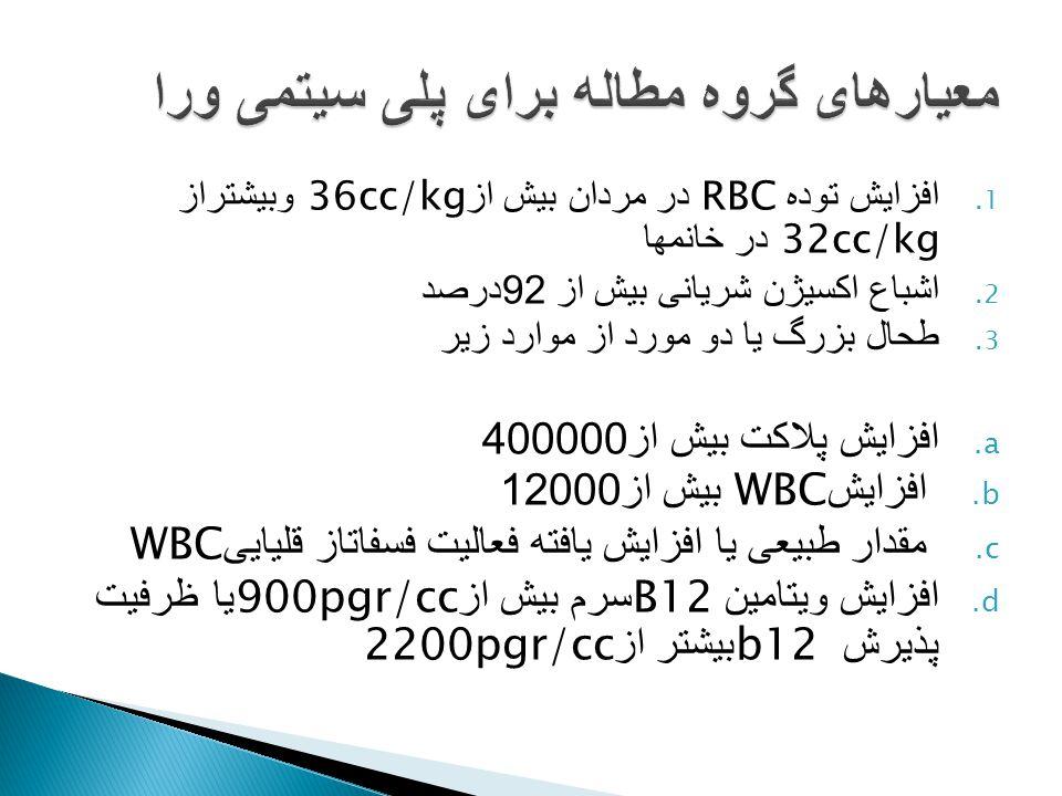 1. افزایش توده RBC در مردان بیش از 36cc/kg وبیشتراز 32cc/kg در خانمها 2. اشباع اکسیژن شریانی بیش از 92 درصد 3. طحال بزرگ یا دو مورد از موارد زیر a. اف