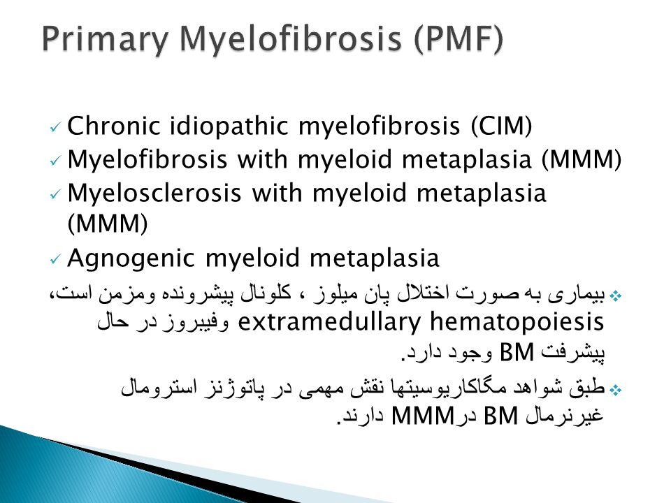 Chronic idiopathic myelofibrosis (CIM) Myelofibrosis with myeloid metaplasia (MMM) Myelosclerosis with myeloid metaplasia (MMM) Agnogenic myeloid meta