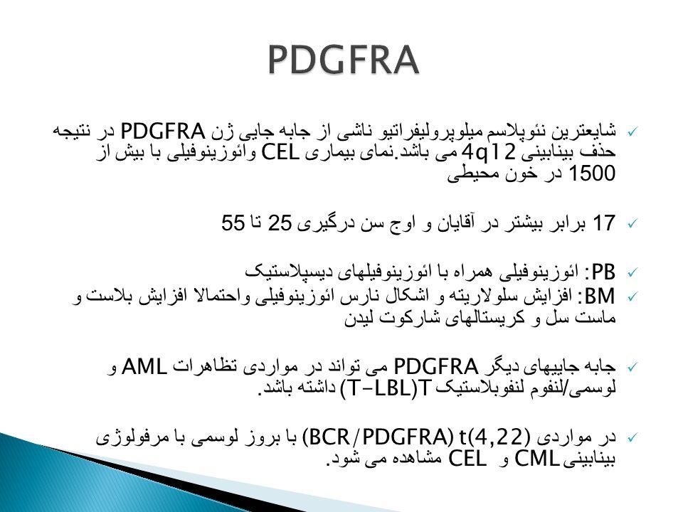 شایعترین نئوپلاسم میلوپرولیفراتیو ناشی از جابه جایی ژن PDGFRA در نتیجه حذف بینابینی 4q12 می باشد. نمای بیماری CEL وائوزینوفیلی با بیش از 1500 در خون م