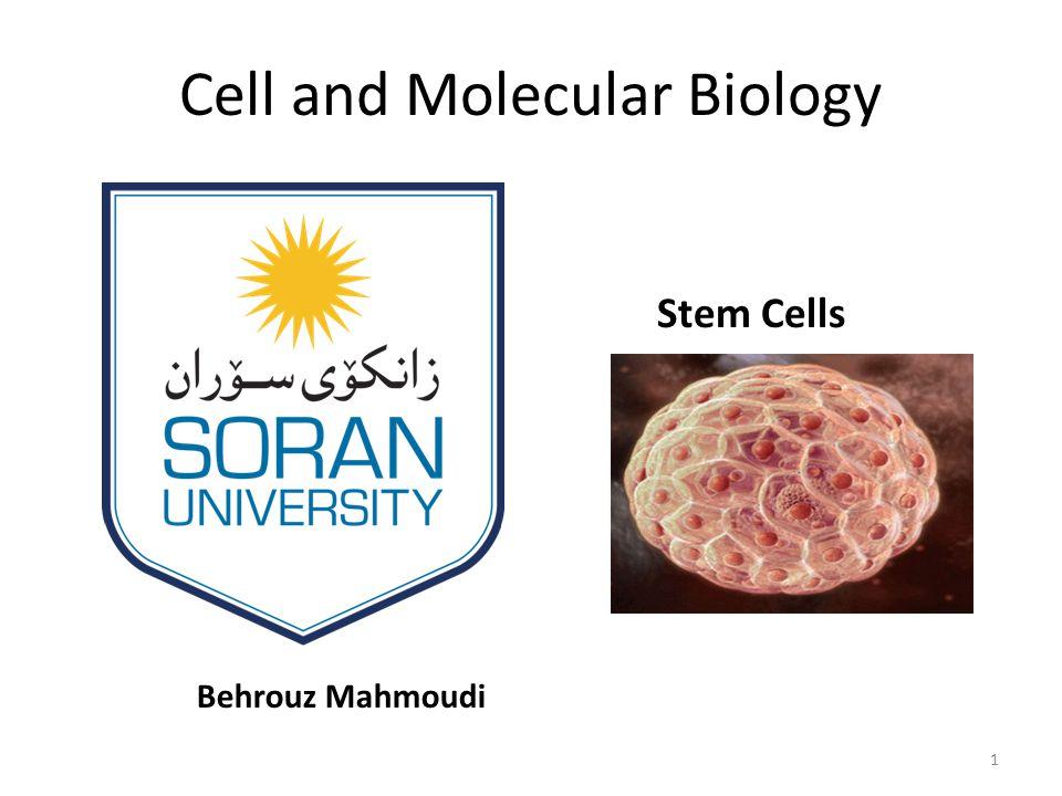 Cell and Molecular Biology Behrouz Mahmoudi Stem Cells 1