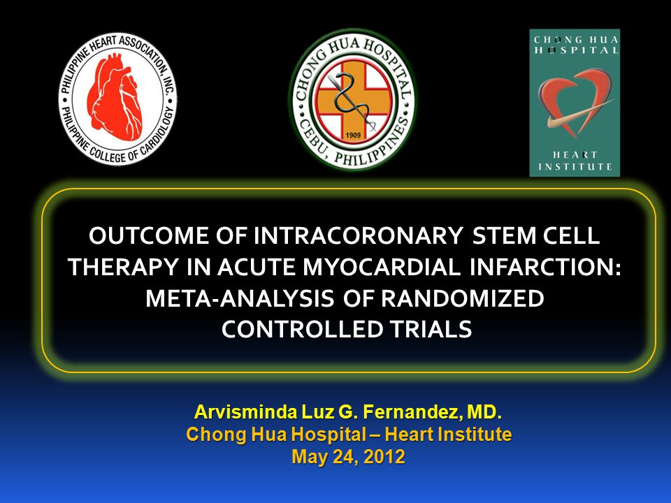 General Objectives: To perform a meta-analysis on the impact of intracoronary bone marrow stem cell therapy in acute myocardial infarction