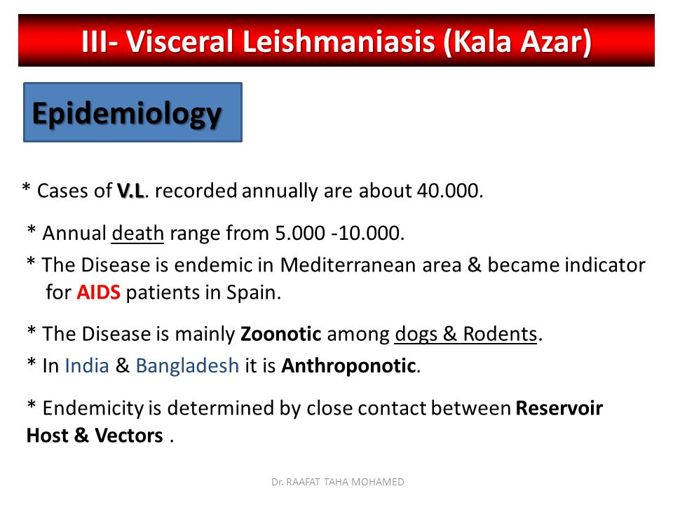 III- Visceral Leishmaniasis (Kala Azar) Epidemiology V.L * Cases of V.L.