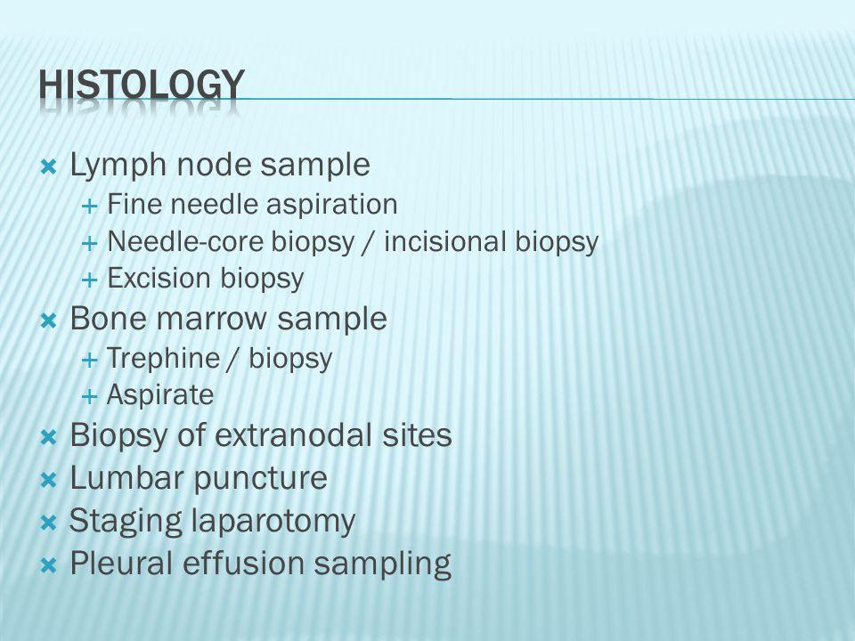  Lymph node sample  Fine needle aspiration  Needle-core biopsy / incisional biopsy  Excision biopsy  Bone marrow sample  Trephine / biopsy  Asp