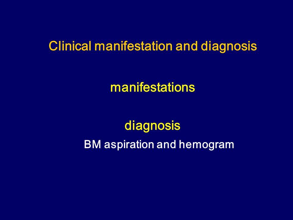 Clinical manifestation and diagnosis manifestations diagnosis BM aspiration and hemogram