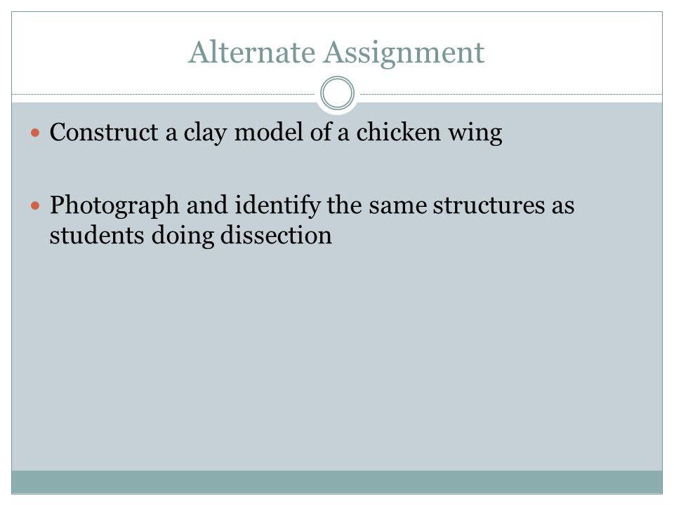 Alternate Assignment Construct a clay model of a chicken wing Photograph and identify the same structures as students doing dissection