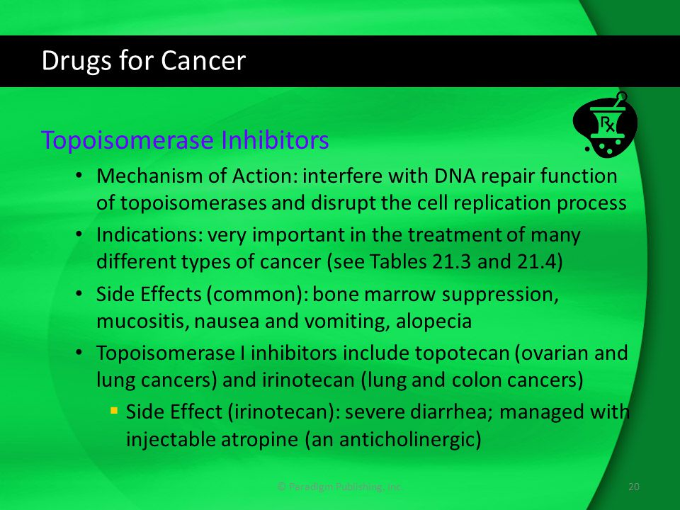 Drugs for Cancer Topoisomerase Inhibitors Mechanism of Action: interfere with DNA repair function of topoisomerases and disrupt the cell replication process Indications: very important in the treatment of many different types of cancer (see Tables 21.3 and 21.4) Side Effects (common): bone marrow suppression, mucositis, nausea and vomiting, alopecia Topoisomerase I inhibitors include topotecan (ovarian and lung cancers) and irinotecan (lung and colon cancers)  Side Effect (irinotecan): severe diarrhea; managed with injectable atropine (an anticholinergic) 20© Paradigm Publishing, Inc.