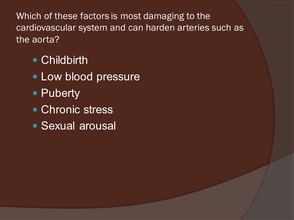 Which of these factors is most damaging to the cardiovascular system and can harden arteries such as the aorta.