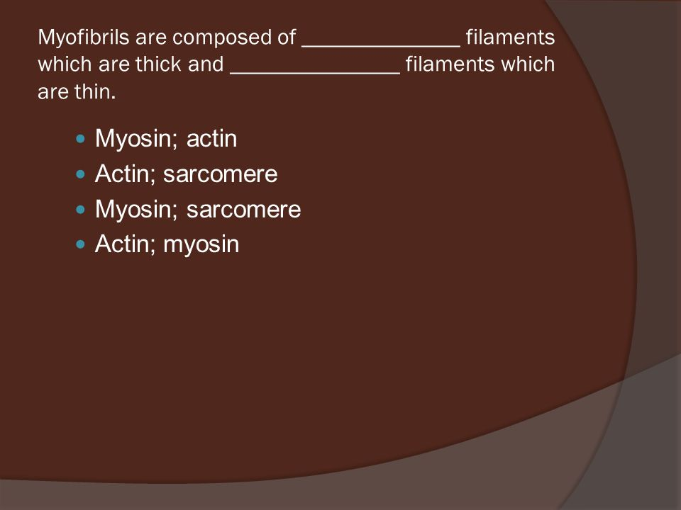 Myofibrils are composed of ______________ filaments which are thick and _______________ filaments which are thin.