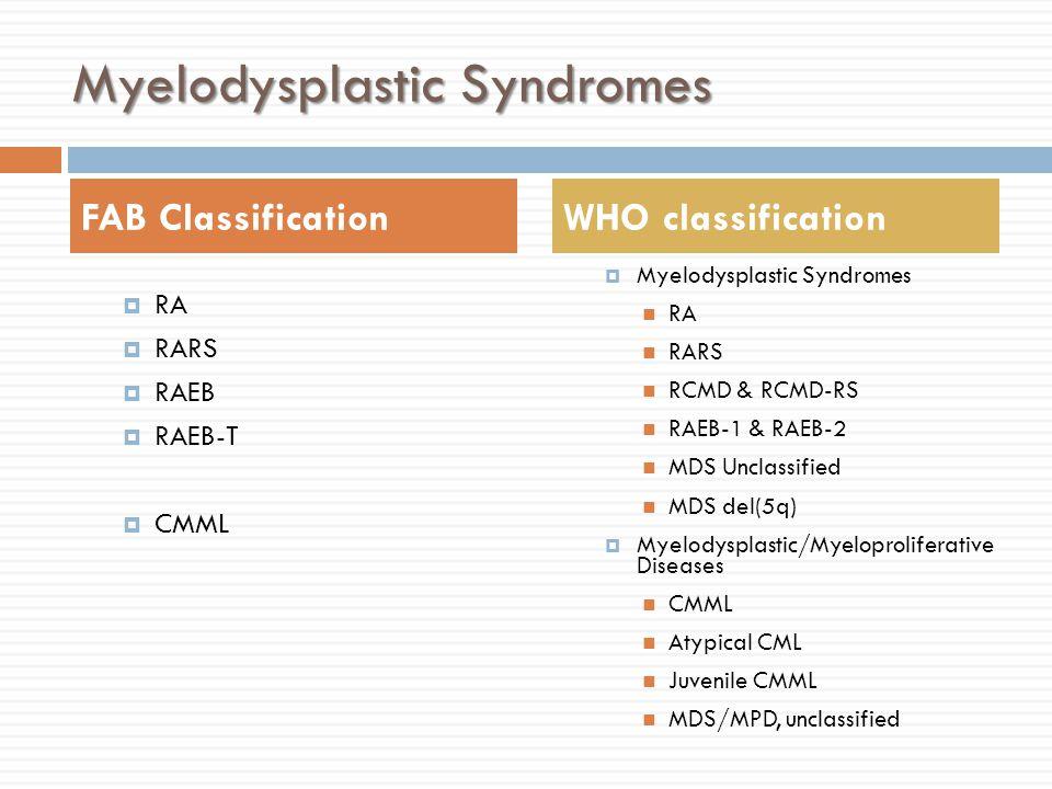 Myelodysplastic Syndromes  RA  RARS  RAEB  RAEB-T  CMML  Myelodysplastic Syndromes RA RARS RCMD & RCMD-RS RAEB-1 & RAEB-2 MDS Unclassified MDS del(5q)  Myelodysplastic/Myeloproliferative Diseases CMML Atypical CML Juvenile CMML MDS/MPD, unclassified FAB ClassificationWHO classification