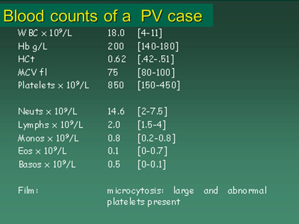Blood counts of a PV case