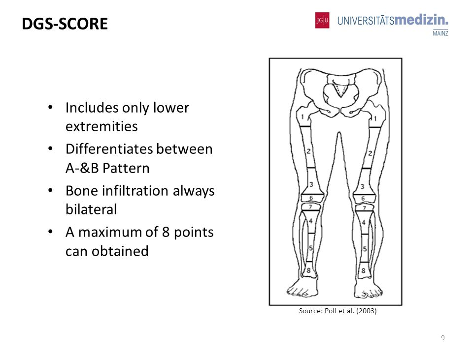 Includes only lower extremities Differentiates between A-&B Pattern Bone infiltration always bilateral A maximum of 8 points can obtained 9 DGS-SCORE Source: Poll et al.