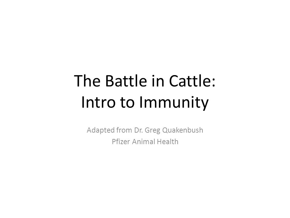 The Battle in Cattle: Intro to Immunity Adapted from Dr. Greg Quakenbush Pfizer Animal Health