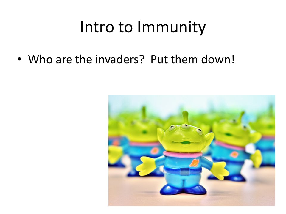Intro to Immunity Who are the invaders? Put them down!