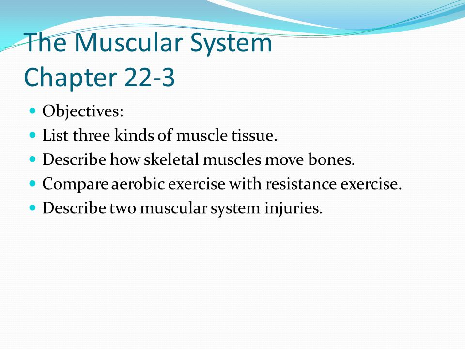 The Muscular System Chapter 22-3 Objectives: List three kinds of muscle tissue. Describe how skeletal muscles move bones. Compare aerobic exercise wit
