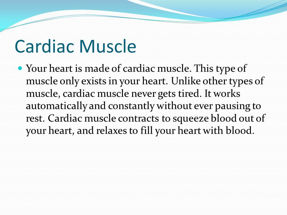 Cardiac Muscle Your heart is made of cardiac muscle. This type of muscle only exists in your heart. Unlike other types of muscle, cardiac muscle never