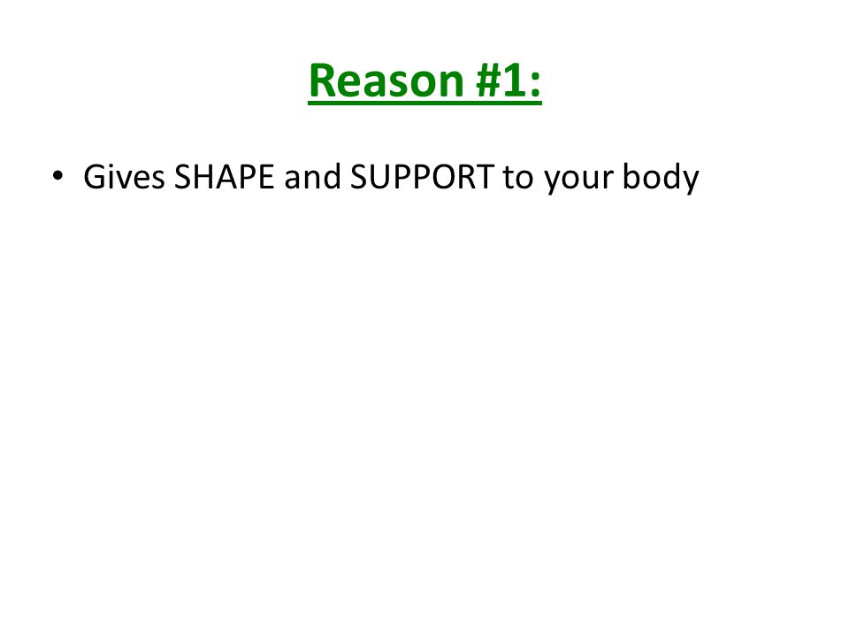 Reason #2: PROTECT your internal organs – Ex.skull protects your brain – Ex.
