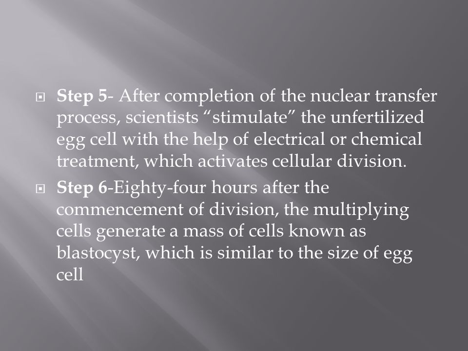 Step 5 - After completion of the nuclear transfer process, scientists stimulate the unfertilized egg cell with the help of electrical or chemical treatment, which activates cellular division.