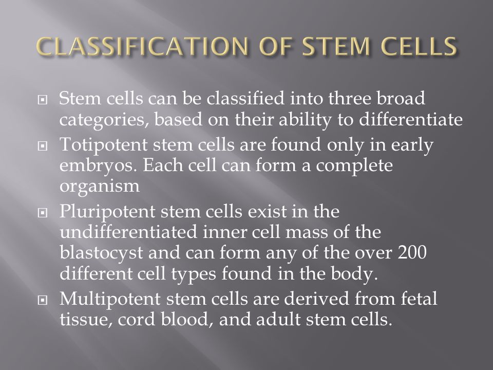  Stem cells can be classified into three broad categories, based on their ability to differentiate  Totipotent stem cells are found only in early embryos.