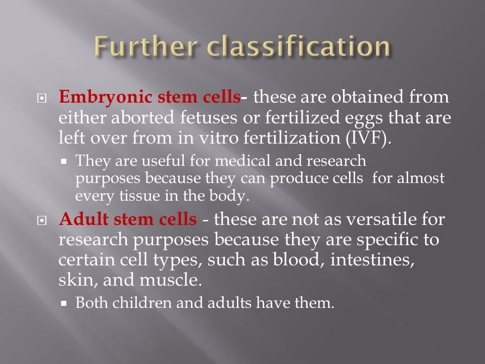  Embryonic stem cells- these are obtained from either aborted fetuses or fertilized eggs that are left over from in vitro fertilization (IVF).