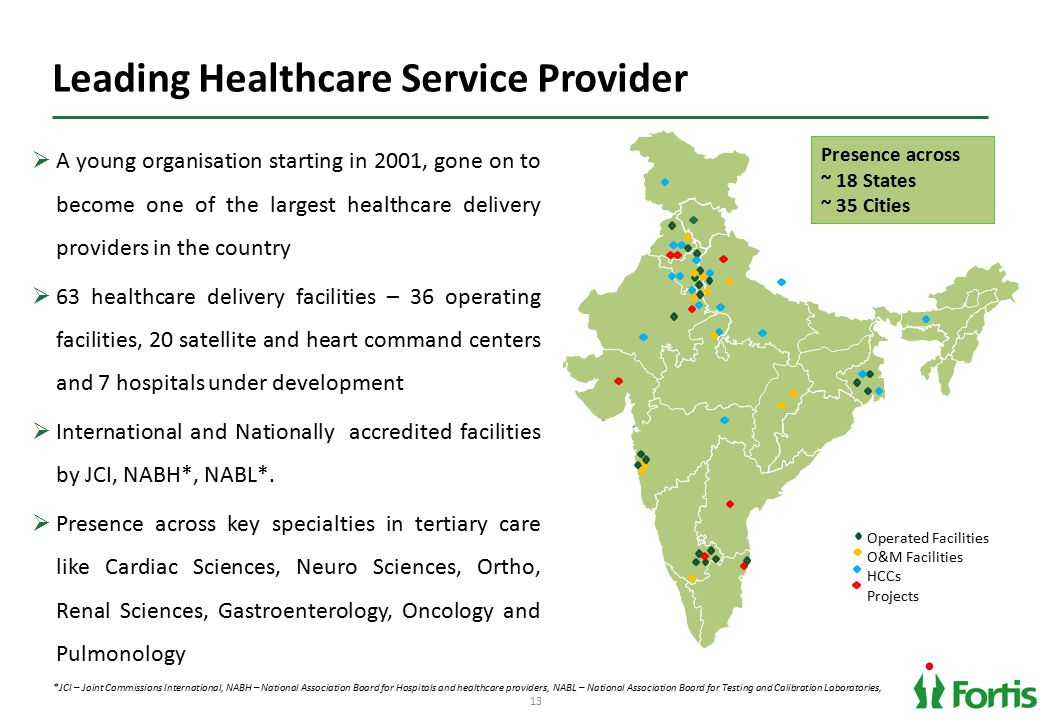 13 Leading Healthcare Service Provider  A young organisation starting in 2001, gone on to become one of the largest healthcare delivery providers in the country  63 healthcare delivery facilities – 36 operating facilities, 20 satellite and heart command centers and 7 hospitals under development  International and Nationally accredited facilities by JCI, NABH*, NABL*.