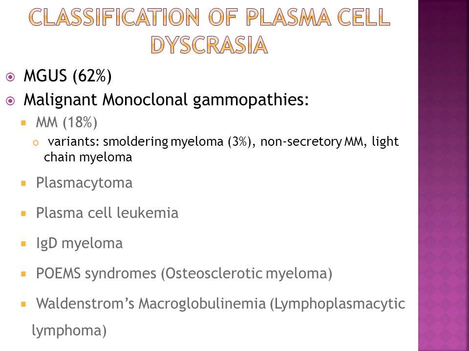  MGUS (62%)  Malignant Monoclonal gammopathies:  MM (18%) variants: smoldering myeloma (3%), non-secretory MM, light chain myeloma  Plasmacytoma  Plasma cell leukemia  IgD myeloma  POEMS syndromes (Osteosclerotic myeloma)  Waldenstrom's Macroglobulinemia (Lymphoplasmacytic lymphoma)