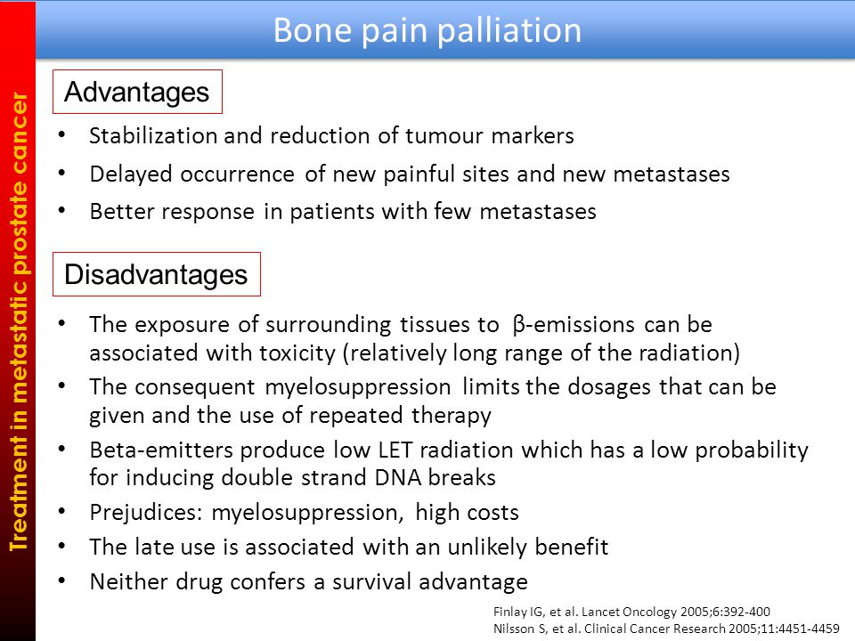 Stabilization and reduction of tumour markers Delayed occurrence of new painful sites and new metastases Better response in patients with few metastases Bone pain palliation Treatment in metastatic prostate cancer Advantages The exposure of surrounding tissues to β-emissions can be associated with toxicity (relatively long range of the radiation) The consequent myelosuppression limits the dosages that can be given and the use of repeated therapy Beta-emitters produce low LET radiation which has a low probability for inducing double strand DNA breaks Prejudices: myelosuppression, high costs The late use is associated with an unlikely benefit Neither drug confers a survival advantage Disadvantages Finlay IG, et al.