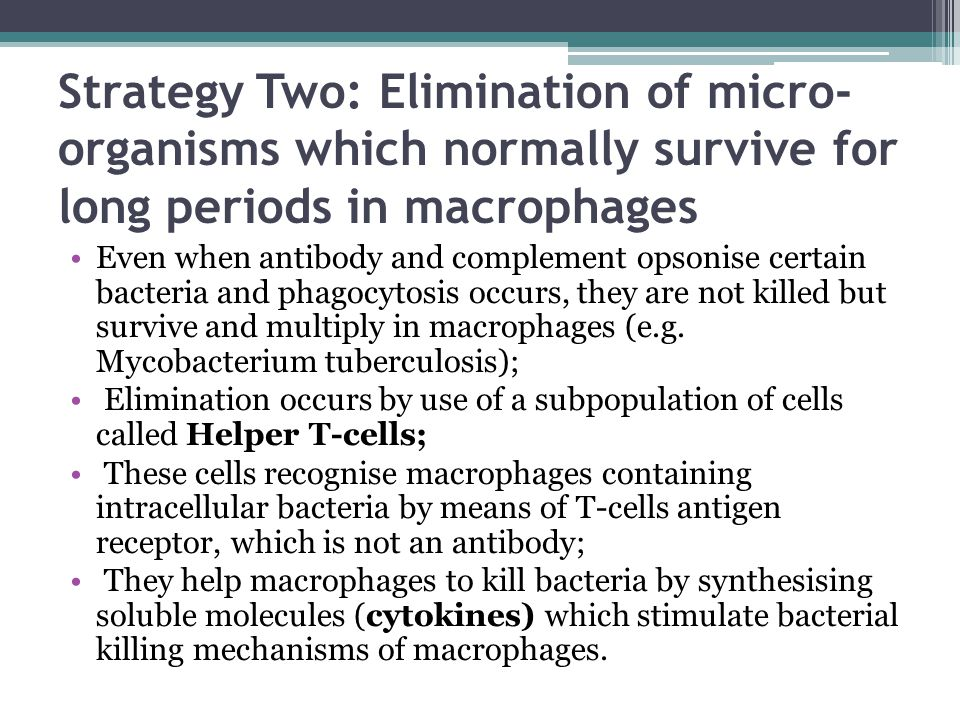 Strategy Two: Elimination of micro- organisms which normally survive for long periods in macrophages Even when antibody and complement opsonise certai