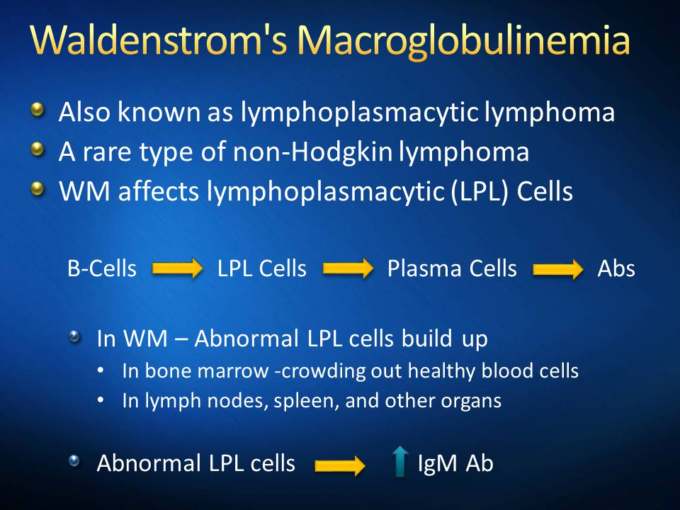 Also known as lymphoplasmacytic lymphoma A rare type of non-Hodgkin lymphoma WM affects lymphoplasmacytic (LPL) Cells B-Cells LPL Cells Plasma Cells Abs In WM – Abnormal LPL cells build up In bone marrow -crowding out healthy blood cells In lymph nodes, spleen, and other organs Abnormal LPL cells IgM Ab Second level