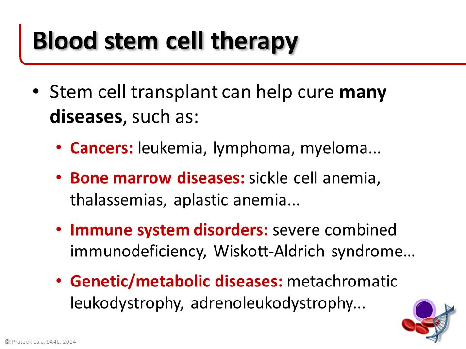 PL © Prateek Lala, SA4L, 2014 Blood stem cell therapy Stem cell transplant can help cure many diseases, such as: Cancers: leukemia, lymphoma, myeloma...