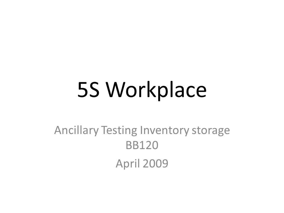 5S Workplace Ancillary Testing Inventory storage BB120 April 2009