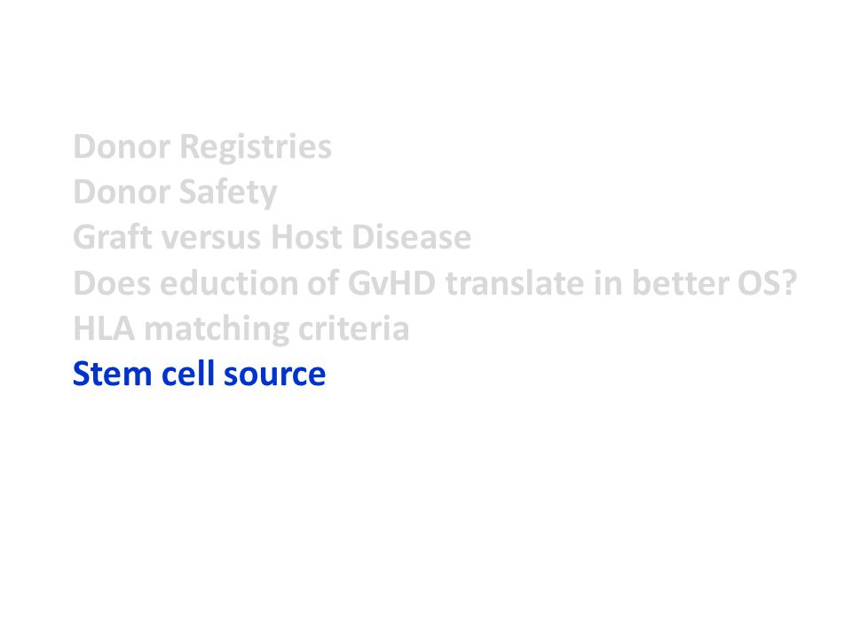 Donor Registries Donor Safety Graft versus Host Disease Does eduction of GvHD translate in better OS.