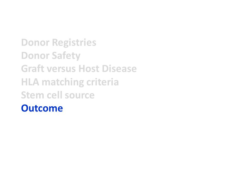 Donor Registries Donor Safety Graft versus Host Disease HLA matching criteria Stem cell source Outcome