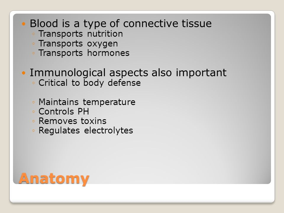 Anatomy Blood is a type of connective tissue ◦Transports nutrition ◦Transports oxygen ◦Transports hormones Immunological aspects also important ◦Critical to body defense ◦Maintains temperature ◦Controls PH ◦Removes toxins ◦Regulates electrolytes