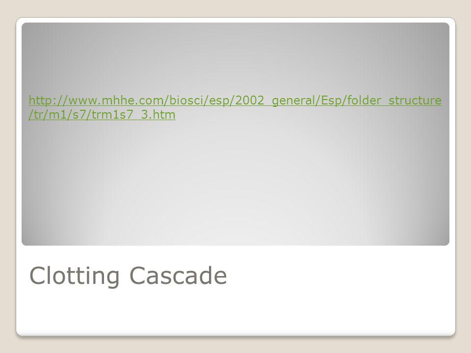 Clotting Cascade http://www.mhhe.com/biosci/esp/2002_general/Esp/folder_structure /tr/m1/s7/trm1s7_3.htm