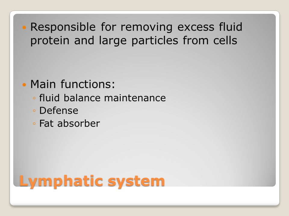 Lymphatic system Responsible for removing excess fluid protein and large particles from cells Main functions: ◦fluid balance maintenance ◦Defense ◦Fat absorber