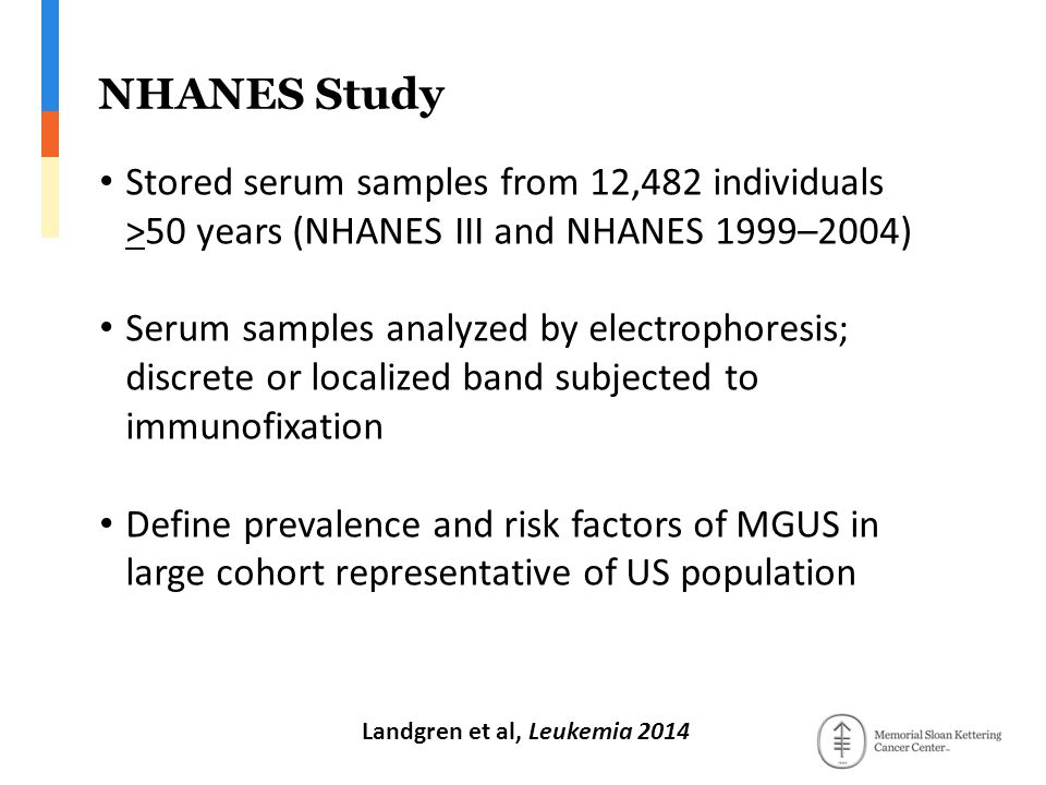 NHANES Study Stored serum samples from 12,482 individuals >50 years (NHANES III and NHANES 1999–2004) Serum samples analyzed by electrophoresis; discrete or localized band subjected to immunofixation Define prevalence and risk factors of MGUS in large cohort representative of US population Landgren et al, Leukemia 2014