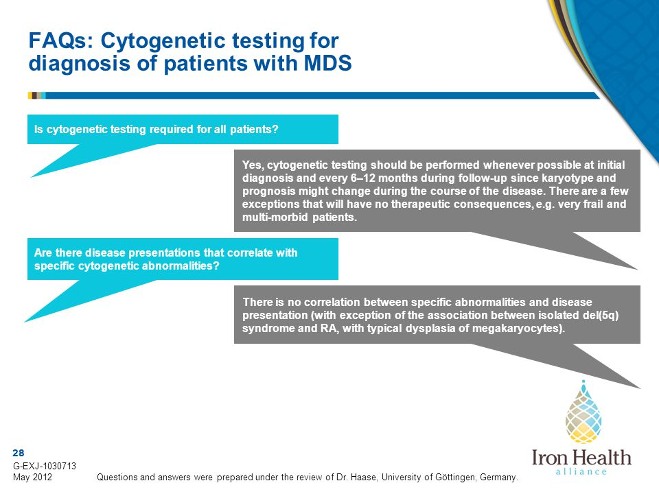 28 G-EXJ-1030713 May 2012 Is cytogenetic testing required for all patients? Yes, cytogenetic testing should be performed whenever possible at initial