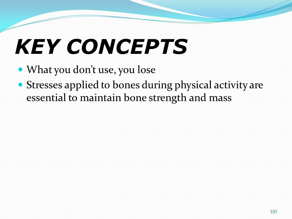KEY CONCEPTS What you don't use, you lose Stresses applied to bones during physical activity are essential to maintain bone strength and mass 105