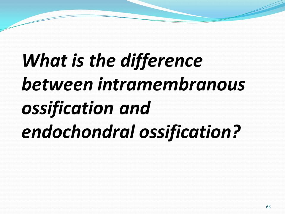 What is the difference between intramembranous ossification and endochondral ossification? 68