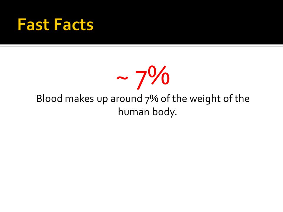 ~ 7% Blood makes up around 7% of the weight of the human body.