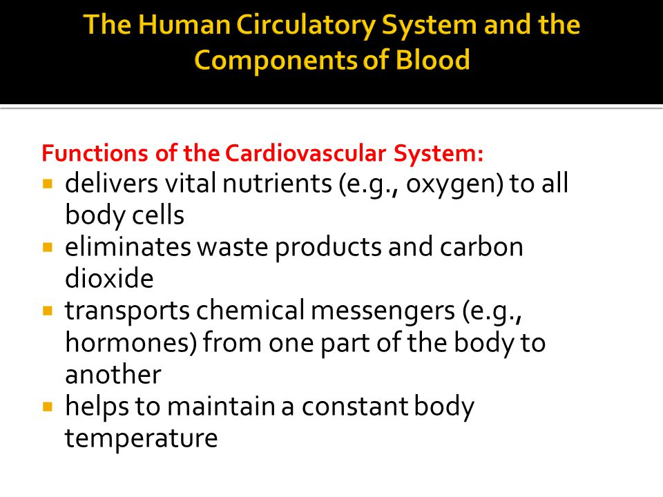 Functions of the Cardiovascular System:  delivers vital nutrients (e.g., oxygen) to all body cells  eliminates waste products and carbon dioxide  transports chemical messengers (e.g., hormones) from one part of the body to another  helps to maintain a constant body temperature