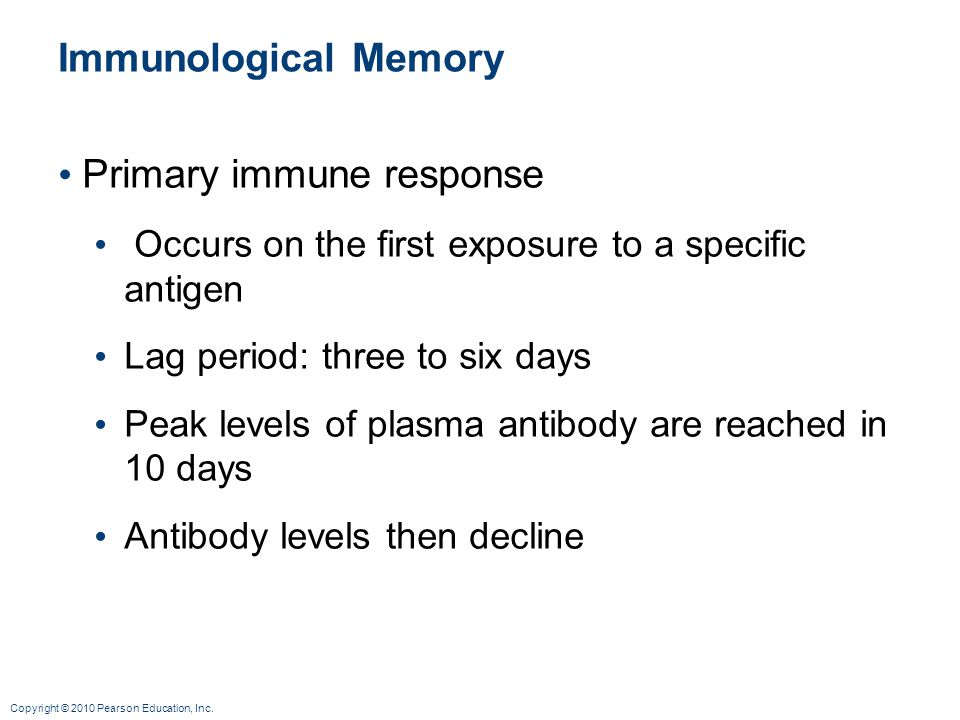 Copyright © 2010 Pearson Education, Inc. Immunological Memory Primary immune response Occurs on the first exposure to a specific antigen Lag period: t